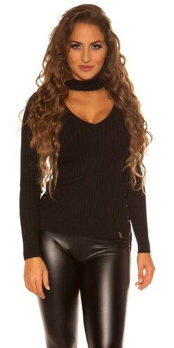 Jemný vrúbkovaný KouCla sveter | Čierna