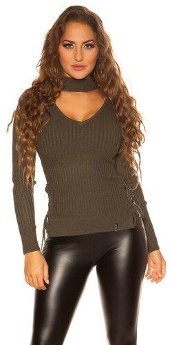 Jemný vrúbkovaný KouCla sveter | Khaki