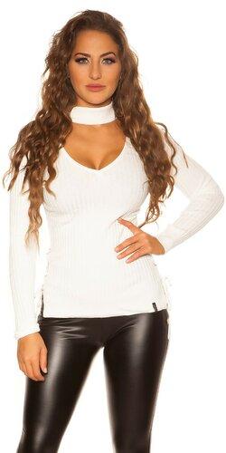 Jemný vrúbkovaný KouCla sveter | Biela