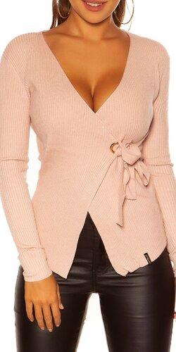 KouCla wrap sveter | Bledá ružová
