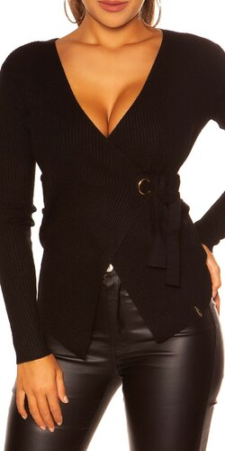 KouCla wrap sveter | Čierna