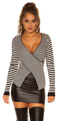 Pruhovaný sveter ,,wrapping look,, Čierna