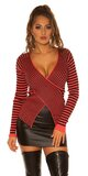 Pruhovaný sveter ,,wrapping look,, Koralová