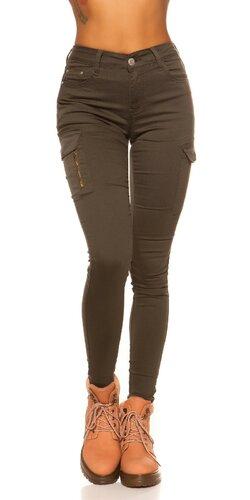 Cargo džínsy s vysokým pásom | Khaki