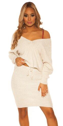 Pletený sukňový set | Béžová