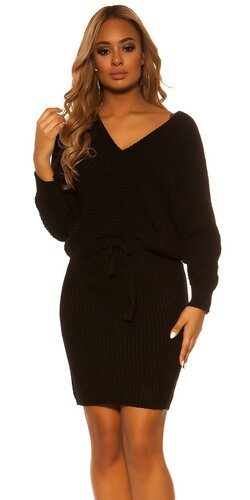 Pletený sukňový set | Čierna