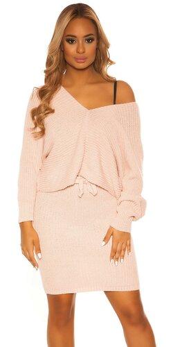 Pletený sukňový set | Bledá ružová