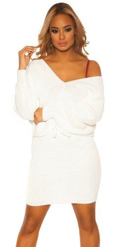 Pletený sukňový set | Biela