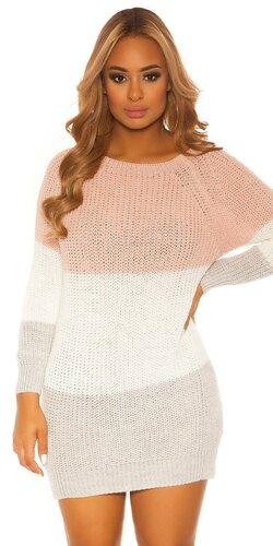 Trojfarebné úpletové šaty | Bledá ružová