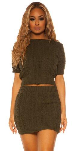 Pletený sukňový set KouCla | Khaki