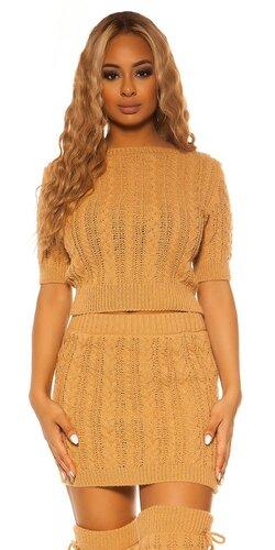 Pletený sukňový set KouCla | Béžová