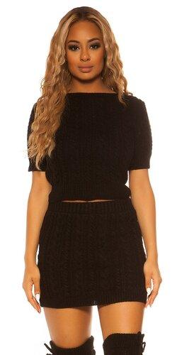Pletený sukňový set KouCla | Čierna