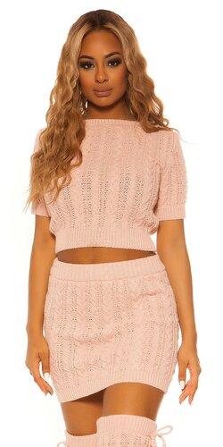Pletený sukňový set KouCla | Bledá ružová