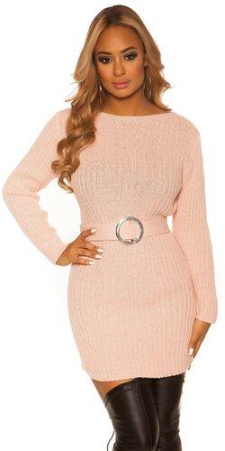 Hrubé pletené šaty s opaskom | Bledá ružová