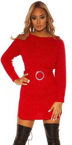 Hrubé pletené šaty s opaskom | Červená