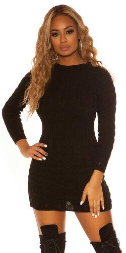 Pletené šaty so zúženým pásom | Čierna