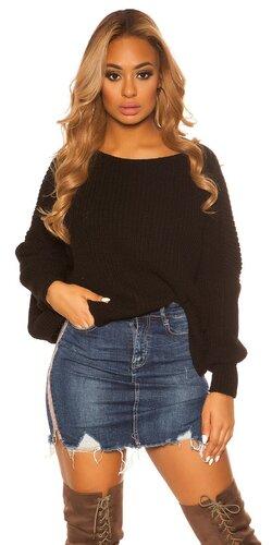 KouCla hrubý pletený sveter | Čierna