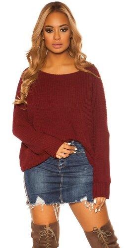KouCla hrubý pletený sveter | Bordová