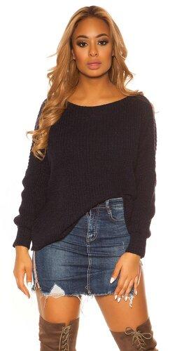 KouCla hrubý pletený sveter | Tmavomodrá