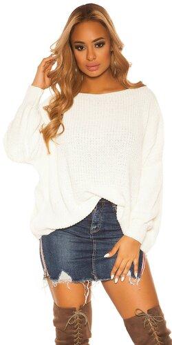 KouCla hrubý pletený sveter | Biela