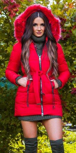 Dlhá zimná bunda s opaskom | Červená