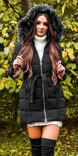 Dlhá zimná bunda s opaskom   Čierna