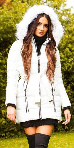 Dlhá zimná bunda s opaskom   Biela
