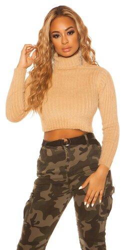 Dámsky rolákový krátky sveter | Béžová