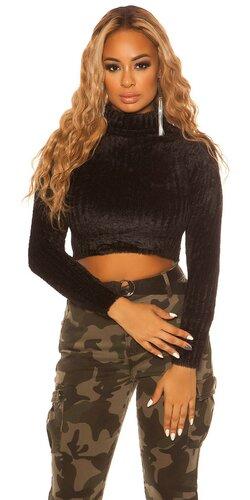 Dámsky rolákový krátky sveter | Čierna