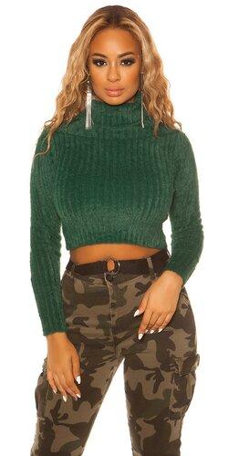 Dámsky rolákový krátky sveter | Zelená
