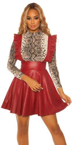 Áčková kožená sukňa s ramienkami | Bordová