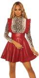 Áčková kožená sukňa s ramienkami Bordová