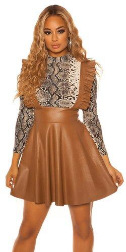 Áčková kožená sukňa s ramienkami | Hnedá