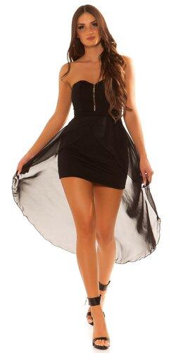 Dámske mini šaty s vlečkou | Čierna