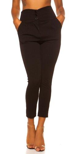 Látkové nohavice s vysokým pásom | Čierna