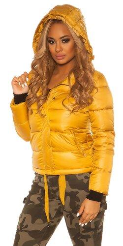 Dámska krátka zimná bunda s kapucňou