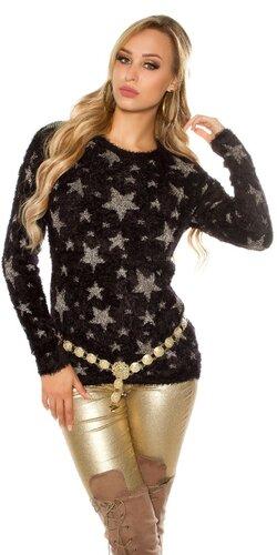 Dámsky huňatý svetrík s hviezdami