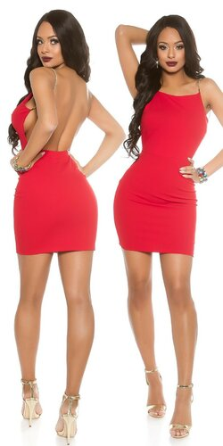 Party šaty na ramienka | Červená