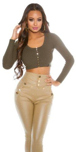 Pletený crop top sveter | Khaki