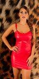 Wetlook ramienkové mini šaty Červená