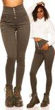 Vysoké jednofarebné džínsy Khaki