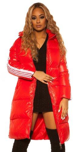 Maxi dlhá zimná bunda   Červená