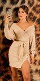 V-neck pletené šaty Béžová