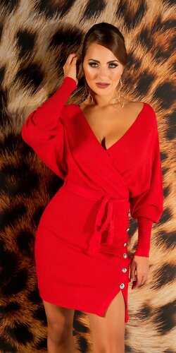 V-neck pletené šaty | Červená