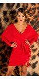 V-neck pletené šaty Červená