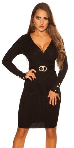 Dlhé čierne pletené šaty V-neck | Čierna