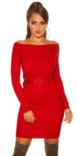 Úpletové šaty s opaskom | Červená