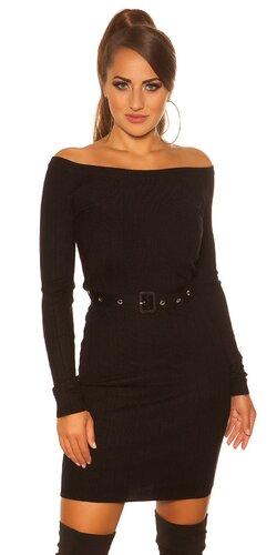 Úpletové šaty s opaskom | Čierna