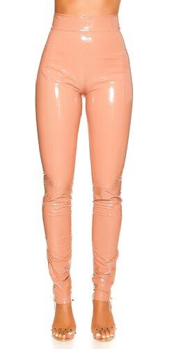 Latex look nohavice s vysokým pásom Bledá ružová