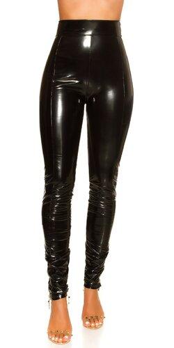 Latex look nohavice s vysokým pásom | Čierna